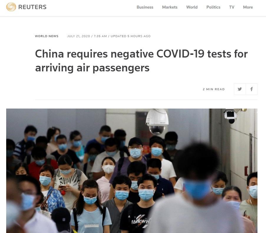 China solicitará tests PCR