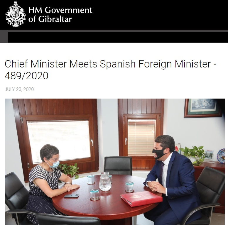 Reunión del Primer Ministro de Gibraltar con la Ministra Laya