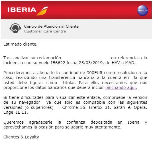 Comunicado de Iberia