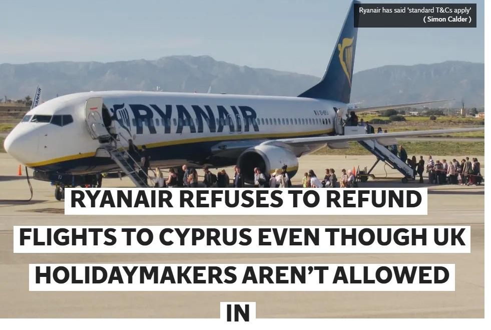 Noticia sobre Ryanair en presan británica