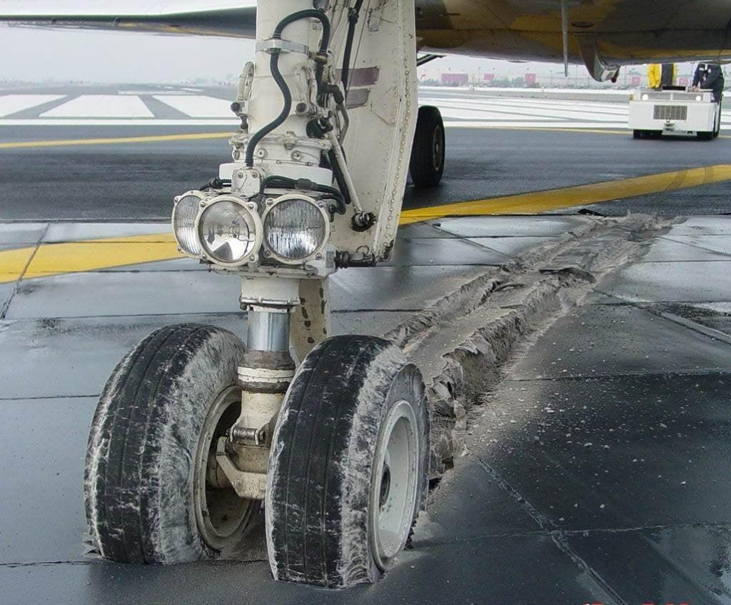Lecho de descarga en una pista de aterrizaje