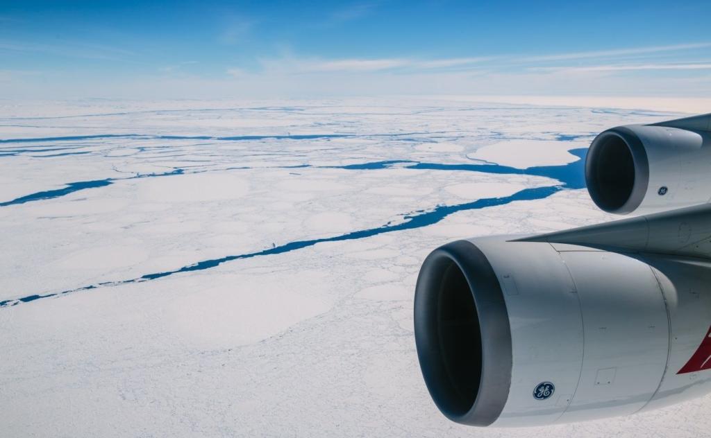 Vista de la Antártida desde Boeing 747 de Qantas