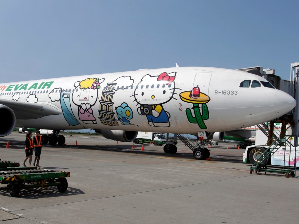 Airbus A330 de Eva Air decorado con los colores de Hello Kitty