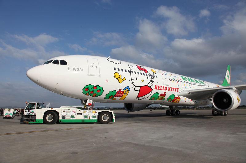 Airbus A330 de EVA Air decorado con personajes de Hello Kitty