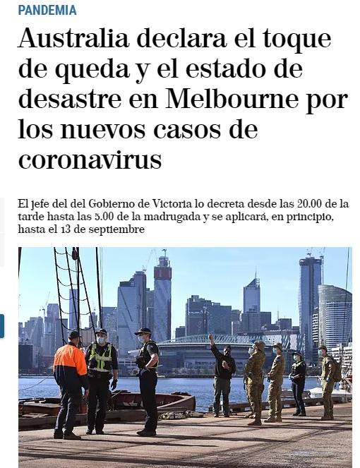 Noticia de El Mundo sobre la pandemia en Melbourne