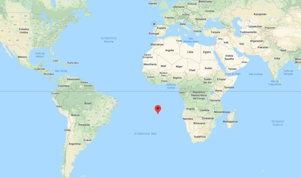 Ubicación de la isla de Santa Elena en el océano Atlántico