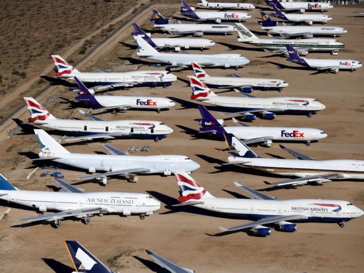 Aviones del modelo Boeing 747 estacionados de manera permanente