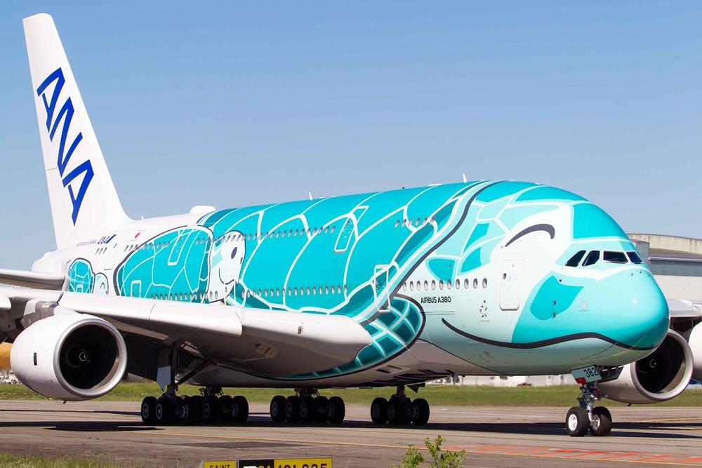 Noticias de aerolíneas. Airbus A380 de ANA con librea de tortuga