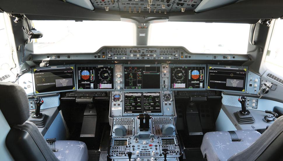 Noticias de aviones. Noticias de aerolíneas. Cabina del Airbus A350