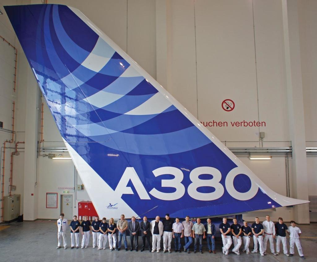 Noticias de aviones. Noticias de aerolíneas. Timón de cola de un Airbus A380