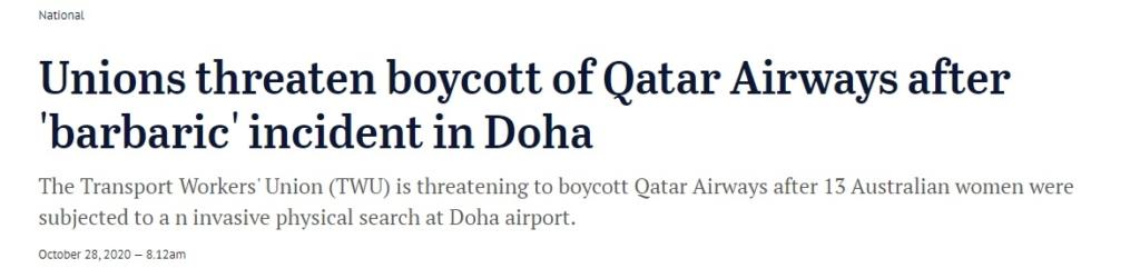 Noticias de aeropuerto. Noticias de aerolíneas. Artículo sobre posible boicot sobre Qatar Airways