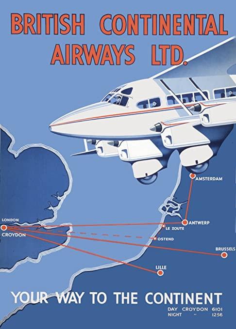 Noticias de aerolíneas. Noticias de aviones. Cartel publicitario de la compañía inglesa British Continental Airways