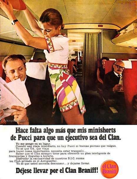 Noticias de aerolíneas. Noticias de aviones. Campaña publicitaria de la compañía Braniff