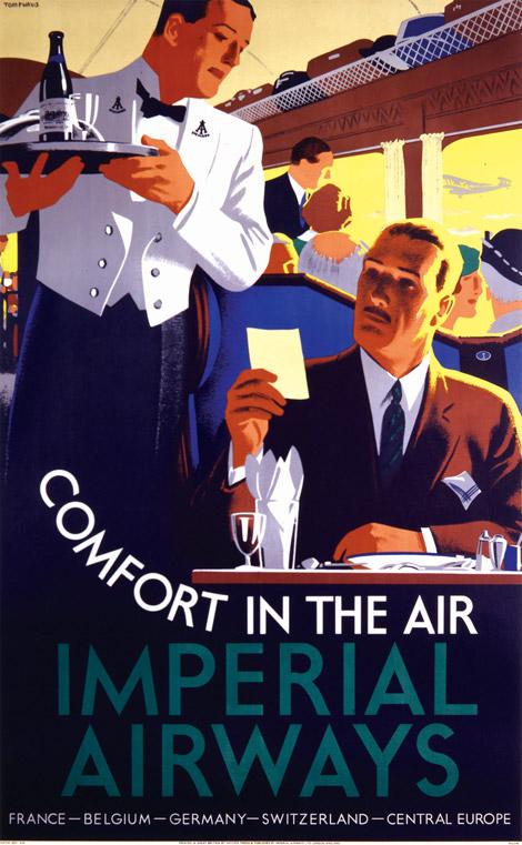 Noticias de aerolíneas. Noticias de aviones. Cartel publicitario de Imperial Airways