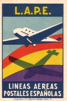 Noticias de aerolíneas. Cartel de LAPE, Líneas Aéreas Postales Españolas