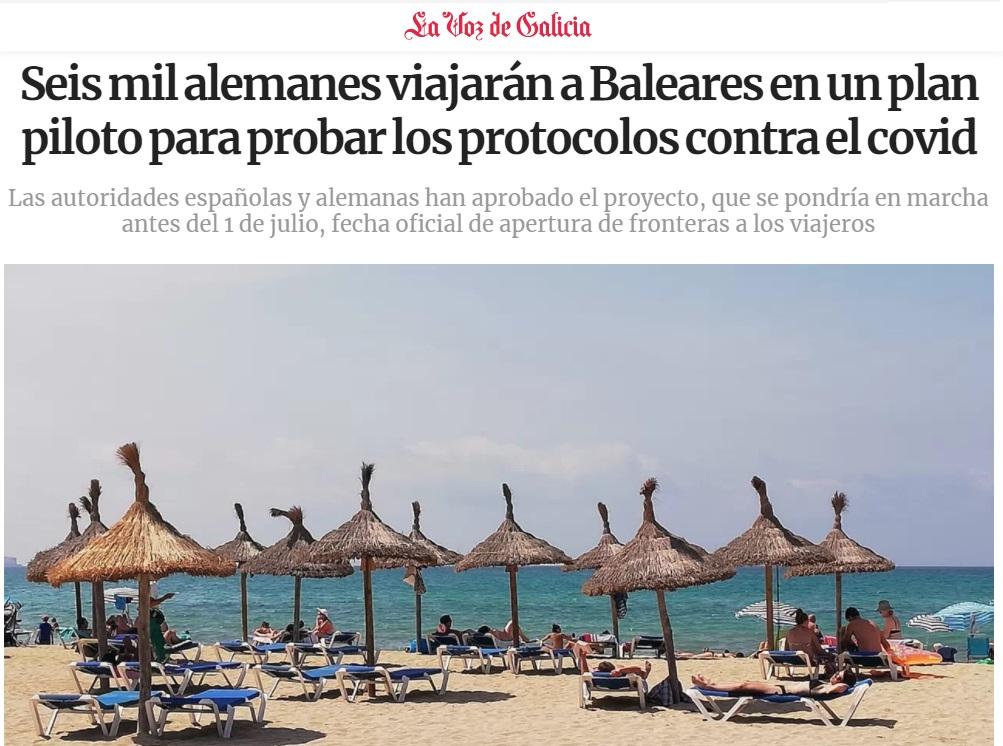 Noticias de turismo. Artículo sobre el plan de Baleares para el turismo alemán.