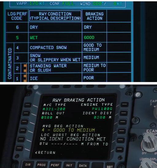 Noticias de aviones. Noticias de aviación. Noticias de aeropuertos. Información sobre frenado presentada en MCDU