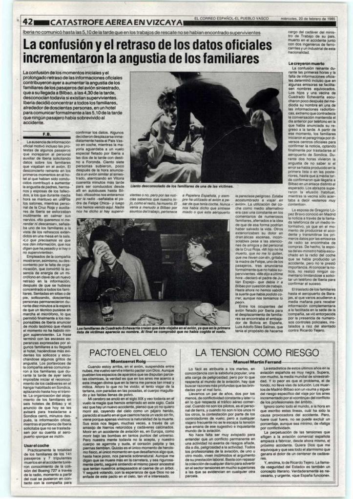 Noticias de aerolíneas. Noticias de aviones. Artículo aparecido en prensa sobre accidente Iberia en Bilbao
