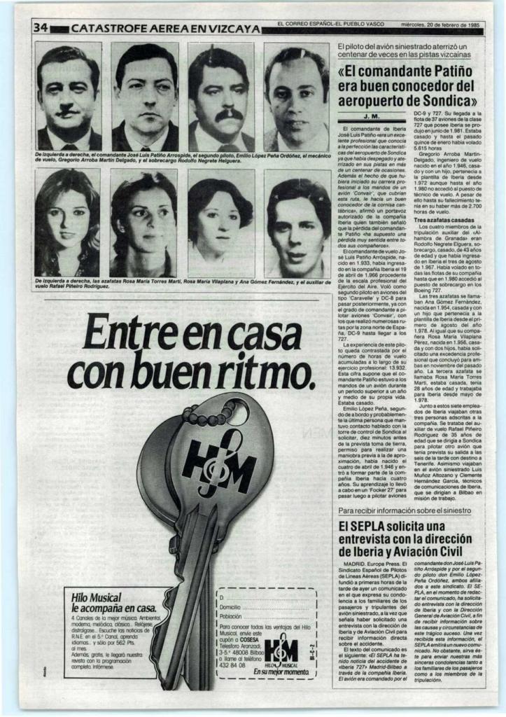 Noticias de aviones. Noticias de aerolíneas. Artículo aparecido en prensa sobre el accidente de Iberia en Bilbao