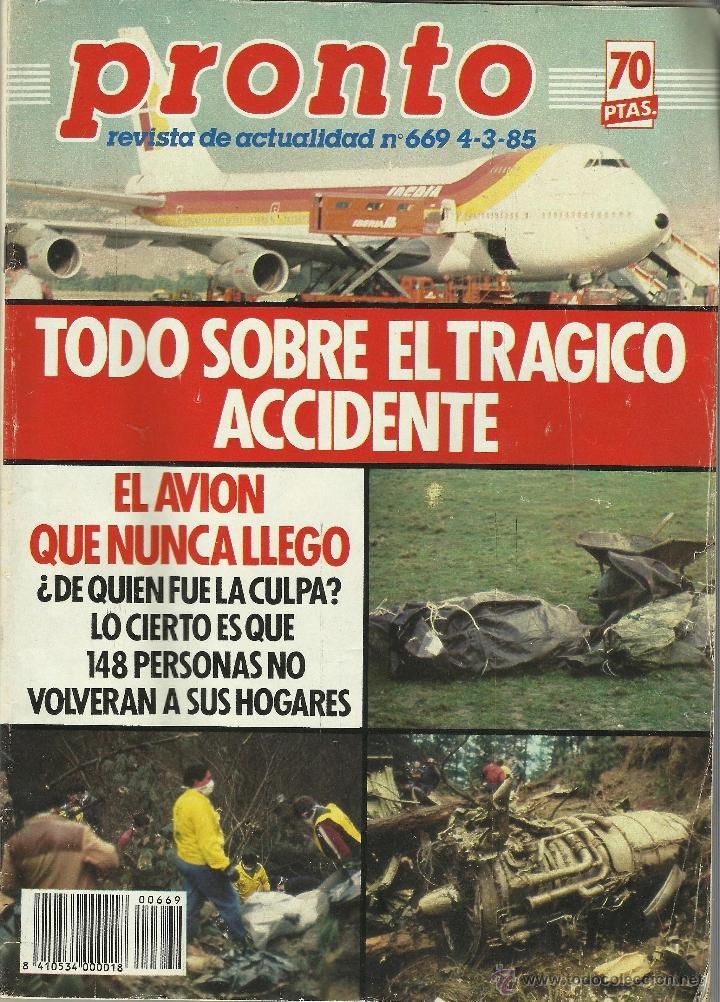 Noticias de aerolíneas. Noticias de aviones. Portada revista pronto sobre accidente Iberia en Bilbao