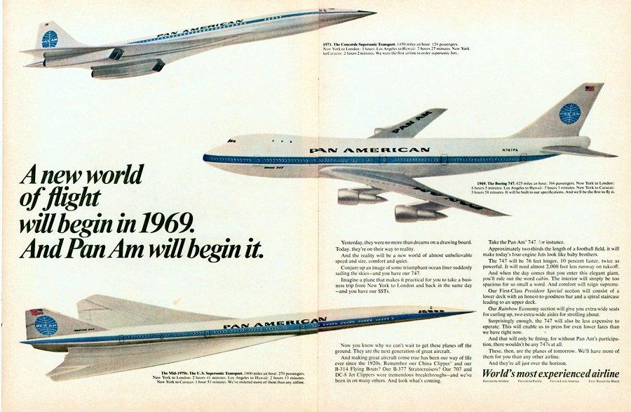 Noticias de aerolíneas. Noticias de aviones. Publicidad de la compañía Pan Am