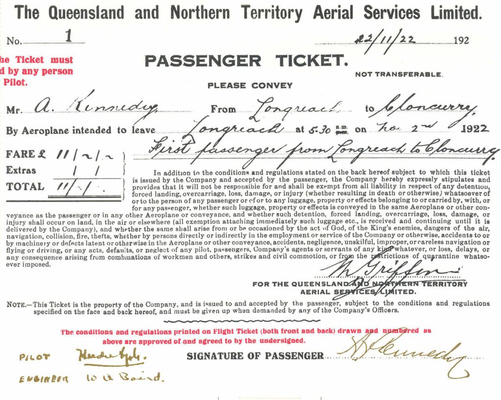 Noticias de aerolíneas. Noticias de aviones. Primer billete de Qantas