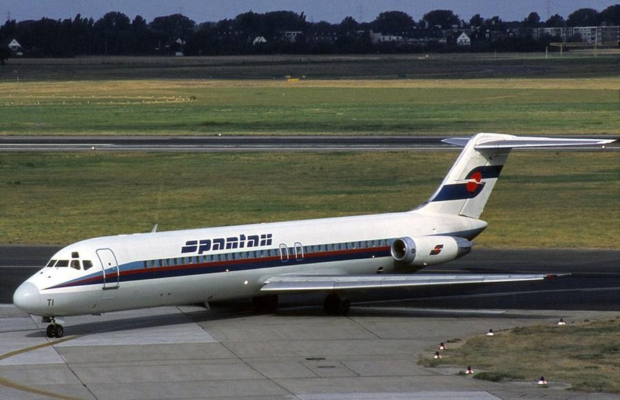 Noticias de aerolíneas. Noticias de aviones. DC-9 de la compañía aérea Spantax