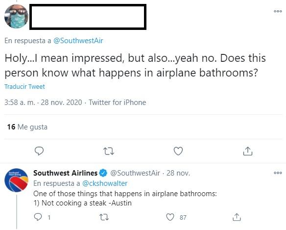 Noticias de aviones. Noticias de aerolíneas. Twitter posteriormente borrado por Soutwest sobre el incidente en un avión de Delta