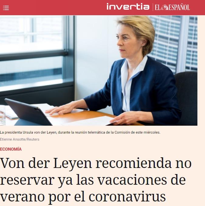 Noticias de turismo. Ursula Von der Leyen, Presidente de la Comisión Europea