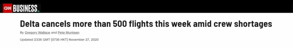 Noticias de aeropuertos. Noticias de turismo. Noticia de la CNN sobre cancelaciones de Delta Airlines