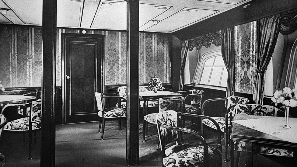 Noticias de aviones. Noticias de aviación. Interior de un Zeppelin de los años 30