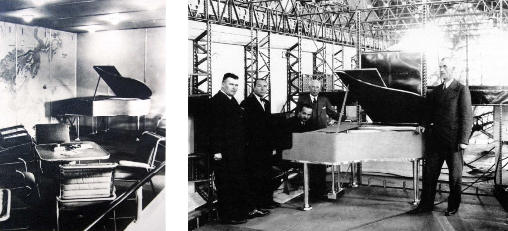 Noticias de aviones. Noticias de aviación. Piano en el interior del Zeppelin Hindenburg