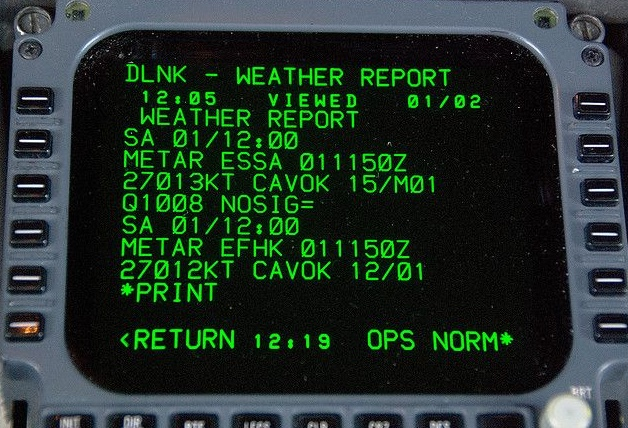 Noticias de aviones. Noticias de aviación. Sistema ACARS en un avión.