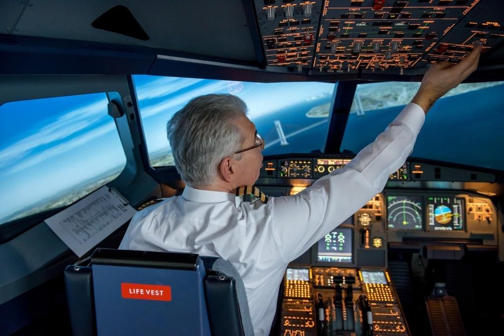 Noticias de aviones. Noticias de aviación. Piloto a los mandos de un avión.