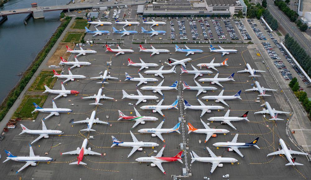 Noticias de aviones. Noticias de aviación. Varios Boeing 737MAX aparcados