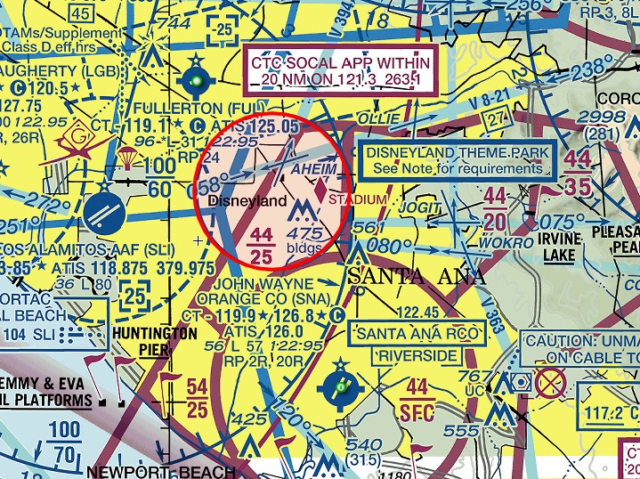 Noticias de aviación. Espacio aéreo en California, parque Disney