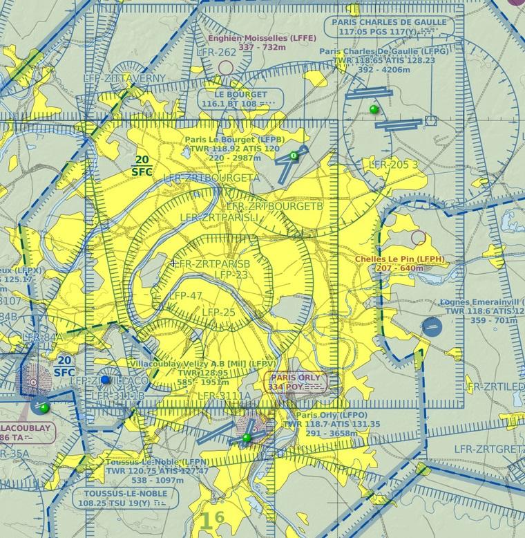 Noticias de aviación. Espacio aéreo de París