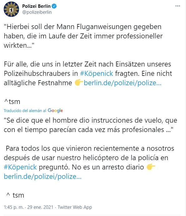 Noticias de aeropuertos. Noticias de control aéreo. Twitter de la policía de Berlín