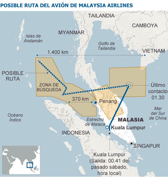 Noticias de aviones. Noticias de aviación. Supuesta ruta seguida por el Boeing 777 de Malaysia Airlines