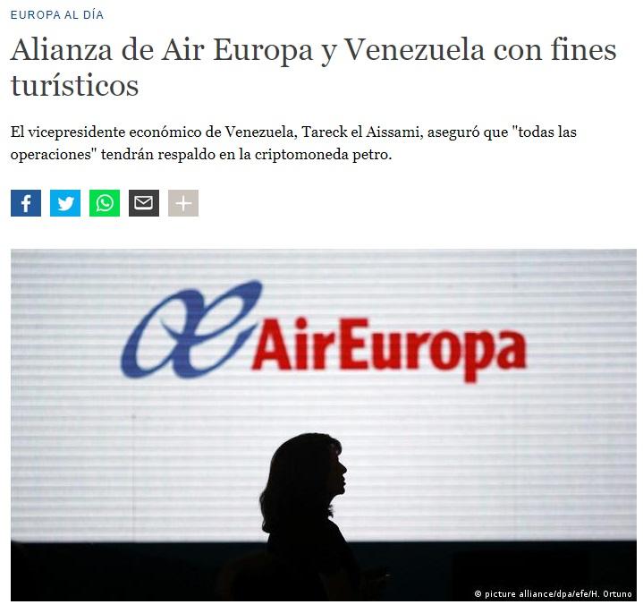 Noticias de aerolíneas. Noticias de compañías aéreas. Noticia sobre acuerdo entre Venezuela y Air Europa