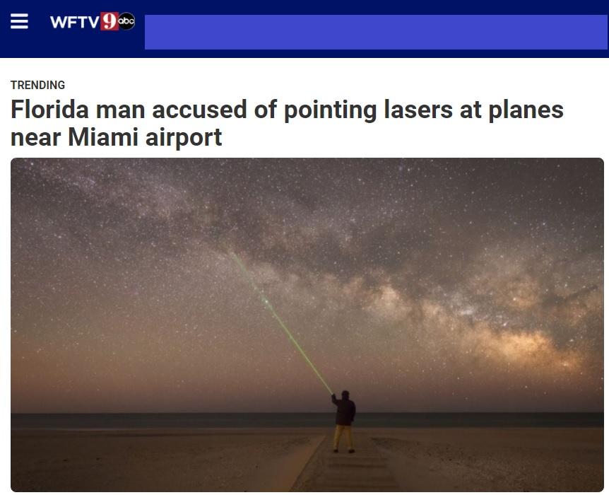 Noticias de aviones. Noticias de aviación. Noticia de la detención de un hombre que apuntaba con laser a aviones.