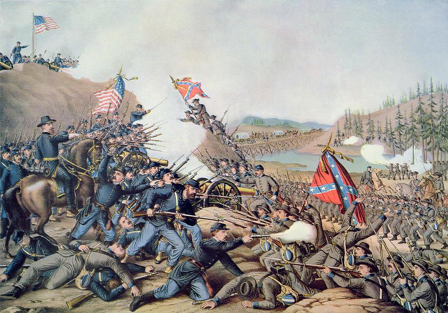 Noticias de aviación. Noticias de aviones. Pintura sobre la batalla de Franklin, en la guerra civil de los EEUU
