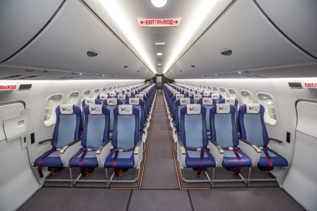 Noticias de aviones. Noticias de aviación. Interior del Irkut MC-21
