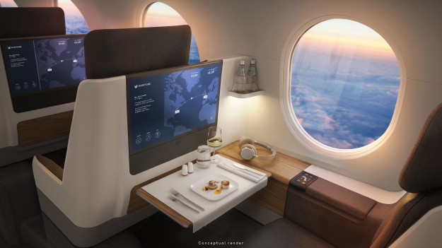 Noticias de aerolíneas. Noticias de aviación. Interior de la cabina del modelo Overture
