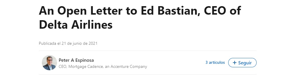 Escrito dirigido por Peter Espinosa al CEO de Delta Air Lines