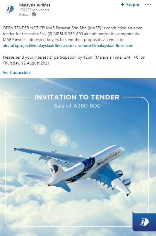 Noticia publicada por Malaysia Airlines en las redes sociales