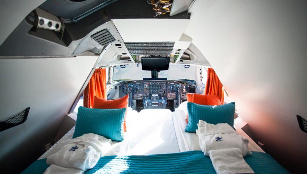 Cabina de un Boeing 747 convertido en hotel