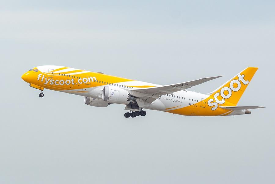 Avión perteneciente a la flota de la aerolínea Scoot