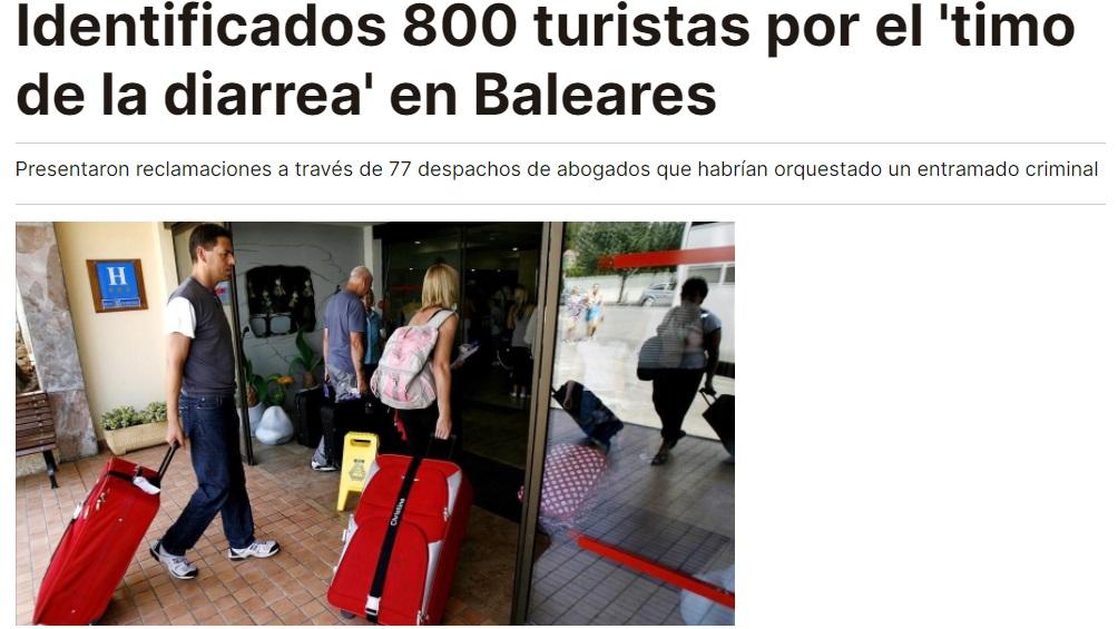 Titular sobre el timo de la diarrea en Baleares