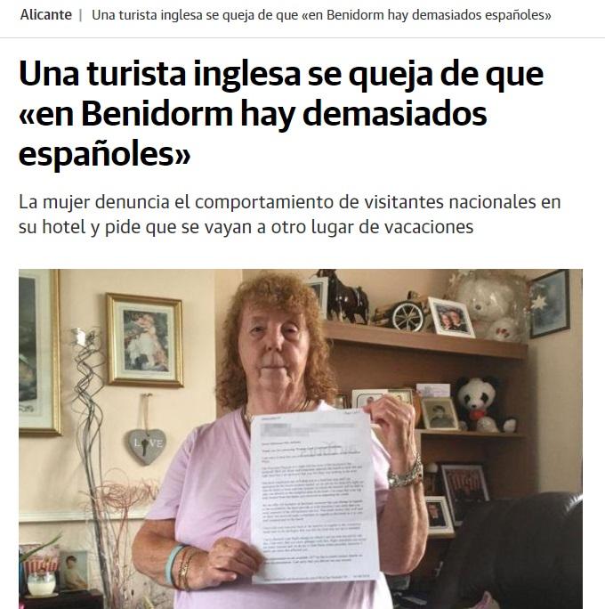 Turista británica se queda de demasiados españoles en Benidorm